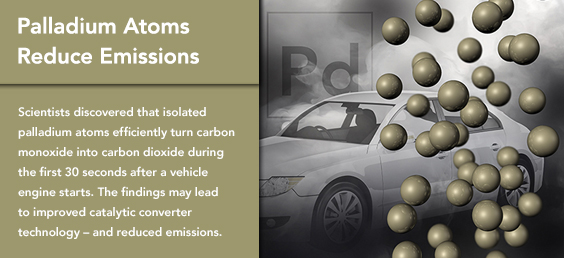 Palladium atoms reduce emissions