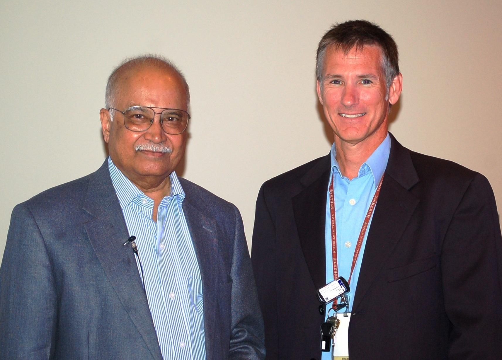 Professor R. Rajaraman (left) with PNNL's Kevin Whattam, NNSA Sector