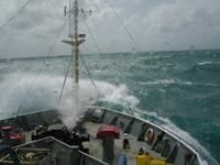 Rough seas and the Southern Surveyor research vessel