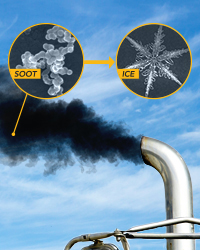 diesel soot forming ice clouds
