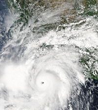 satellite photo of tropical cyclone