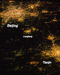 night lights over Greater Beijing Metropolitan Area