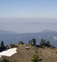 Smog hangs over California's Sierra Nevada Mountains