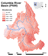 Columbia River basin watershed in the Pacific Northwest