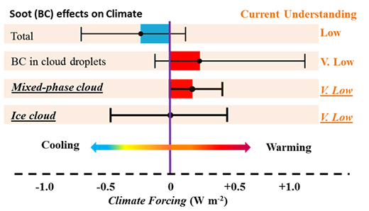 Soot effects on climate and total climate forcing