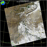MODIS satellite view of dust storm over Taklamakan Desert.
