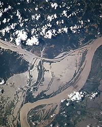 NASA satellite image of river inundation