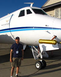 Rahul Zaveri and the PNNL G-1 aircraft at the start of CARES