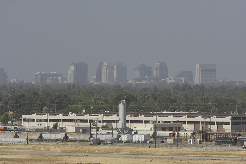sacramento, california, skyline in haze