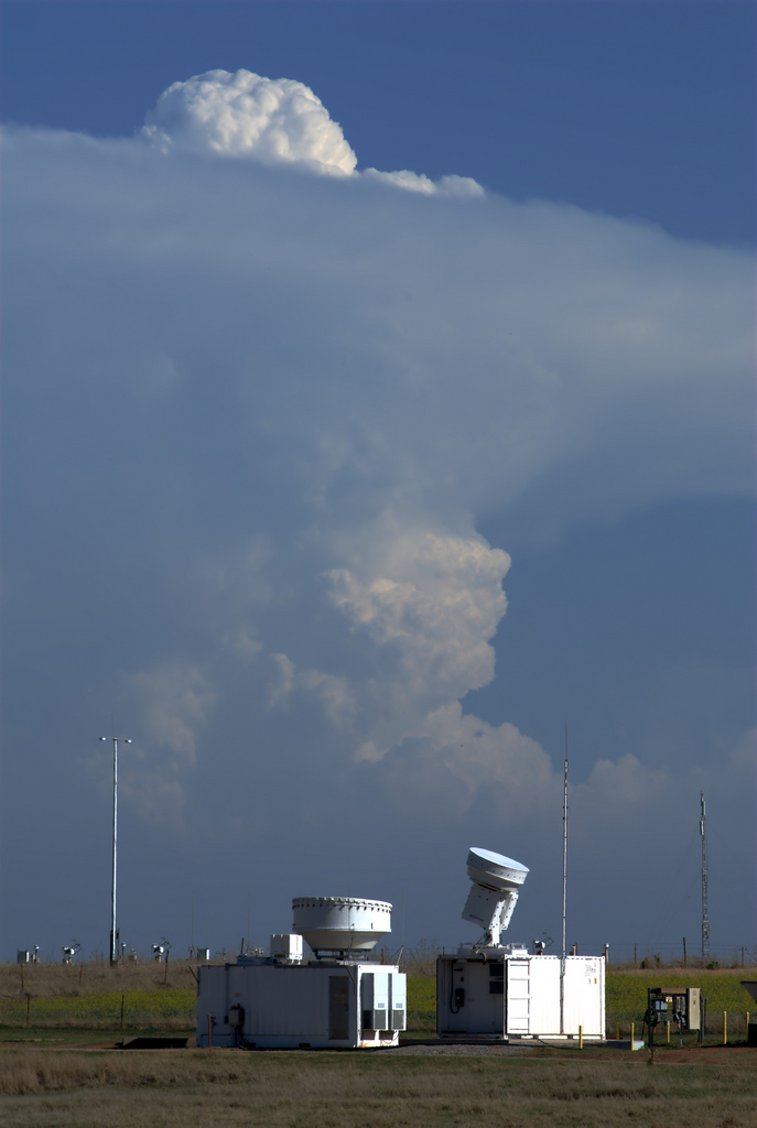 Pollution particles contribute to a storm cloud brewing over the cloud radar instruments at the Southern Great Plains site in Oklahoma.