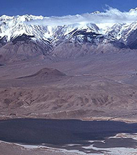 Tinemaha Reservoir at the base of Eastern Sierra Nevada