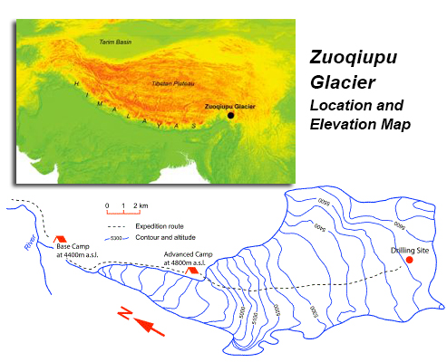 Zuoqiupu glacier elevation maps