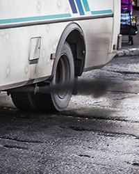 diesel pollution from Russian bus