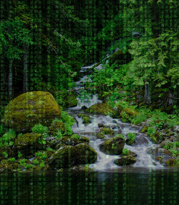 Stream flowing through rocks with binary data on top