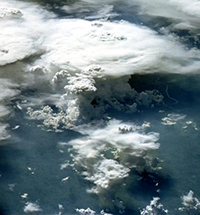 space shuttle view of Brazilian thunderstorms forming