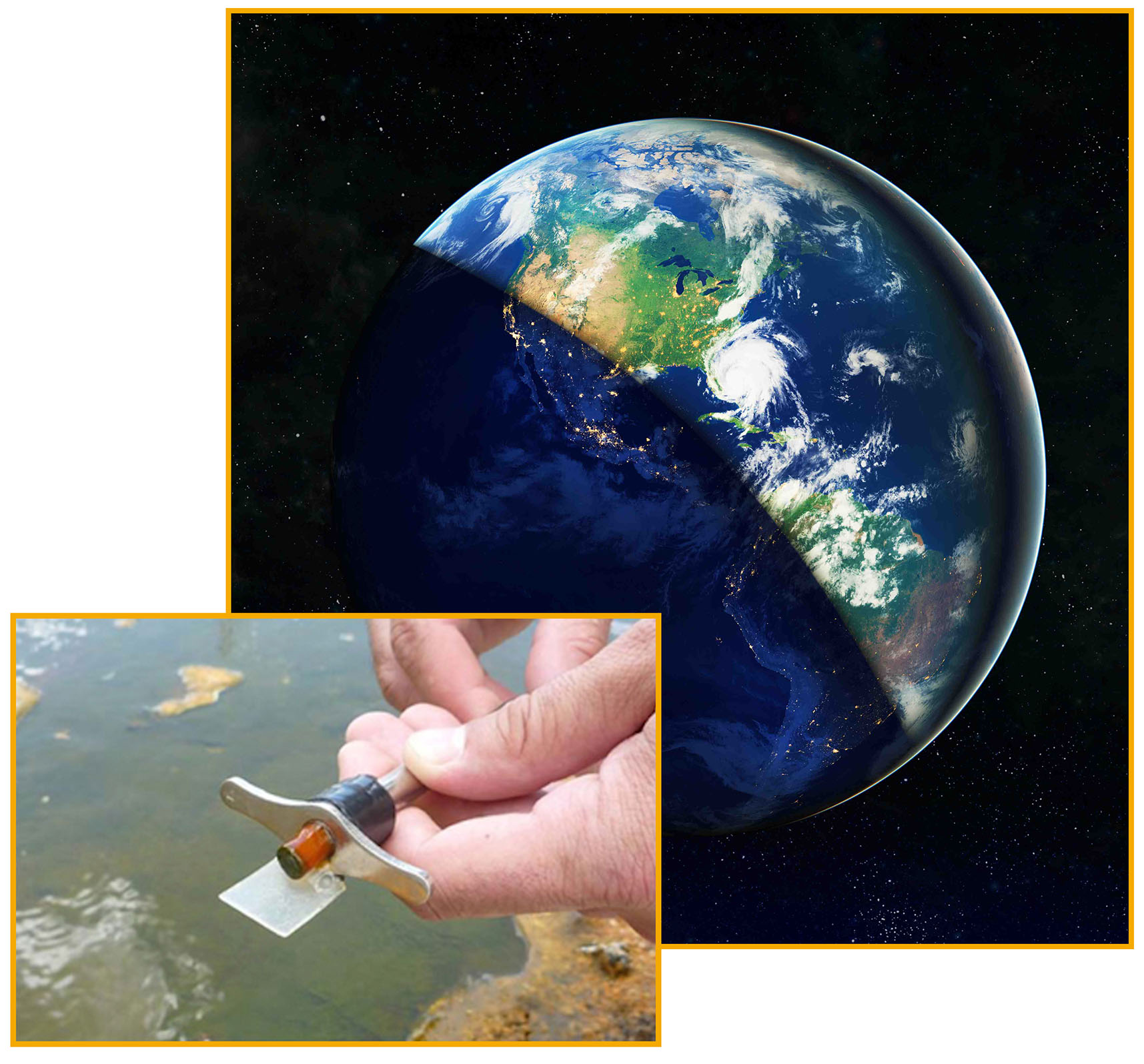 earth in day and night with microbial mat sample