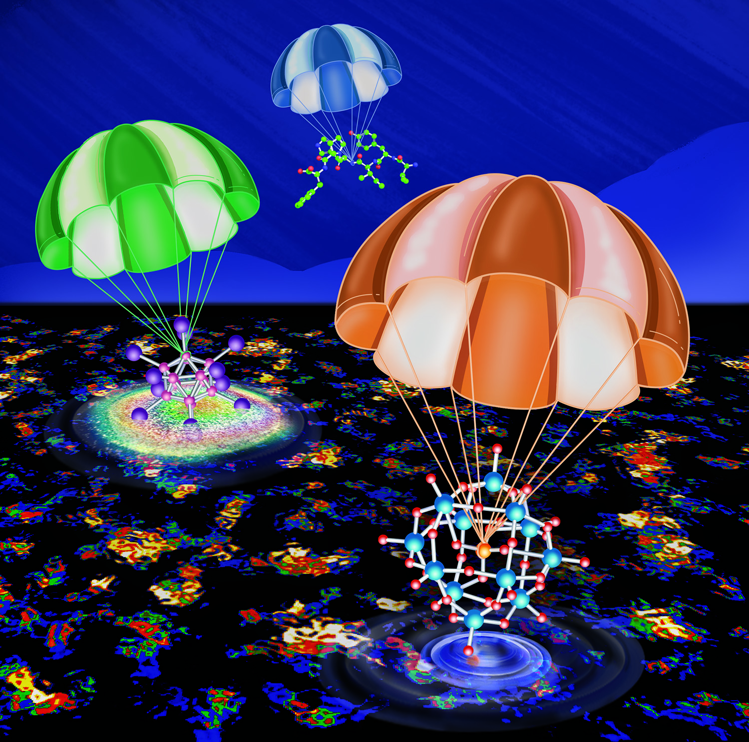 Illustration of ion soft-landing, with ions parachuting softly onto a surface