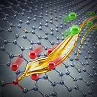 Artistic rendering of graphene and ionic interactions