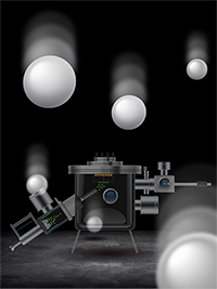 Conceptual art of nanoparticles with soft-landing instrument