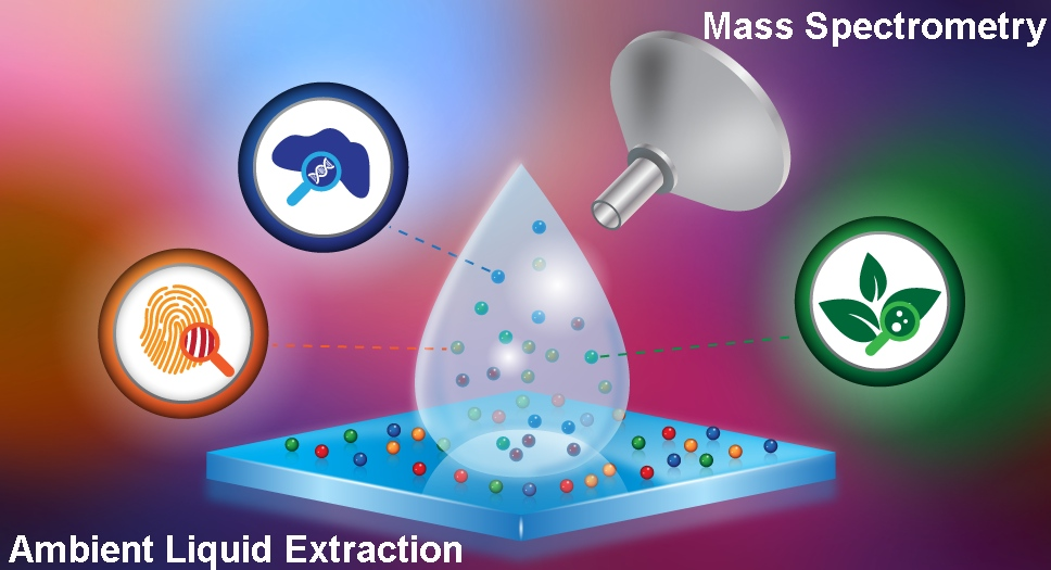 Drawing of liquid extraction coupled with mass spectrometry