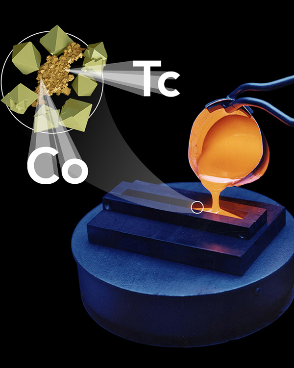 Glass melt, technetium, and spinels