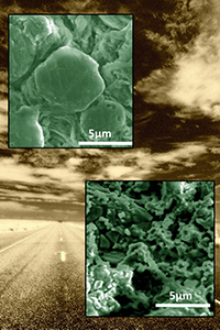 Microscopy images of anodes set on open highway backdrop