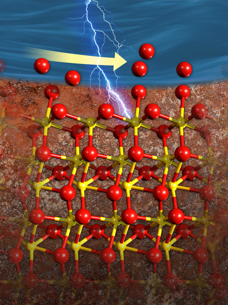 Artistic rendering of 3-D view of atomic structure at the interface of water and hematite
