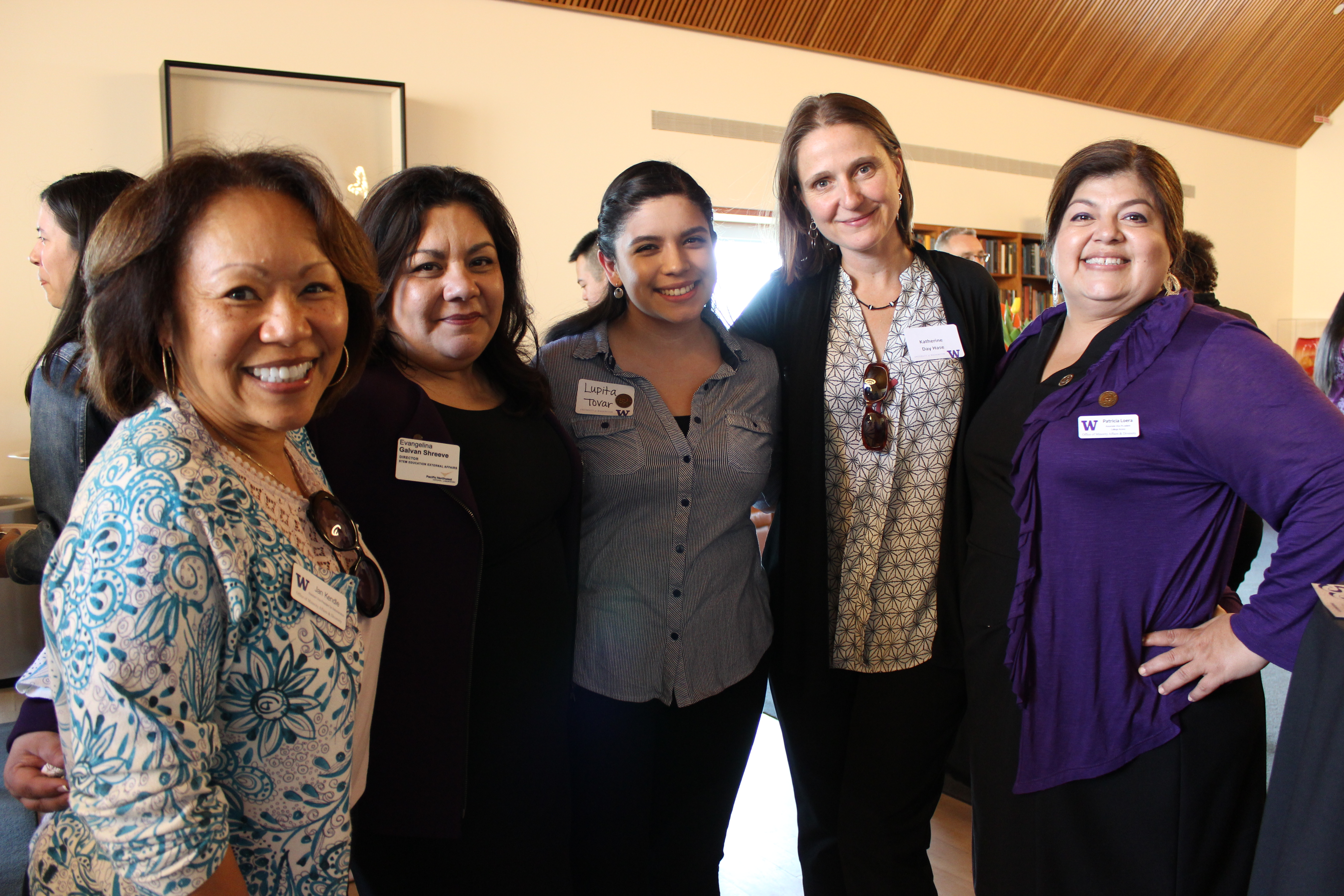 Photo of Evangelina Galvan Shreeve with colleagues at a 2018 event for the University of Washington's Office of Minority Affairs & Diversity. Photo is courtesy of the University of Washington.