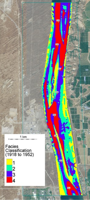 Figure shows a map of riverine facies based on simulated shear stress for a 7 kilometer stretch in the Hanford Reach of the Columbia River.