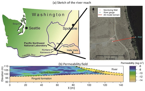 Figure shows the location of monitoring sites as well as a cross section of the Columbia River Hanford Reach's hyporheic zone.