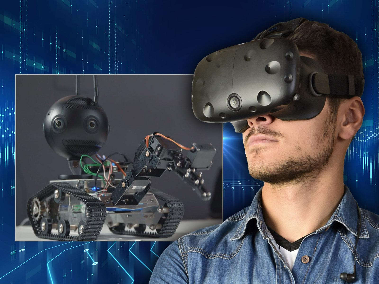 Image of a man wearing a VR headset looking at a robot