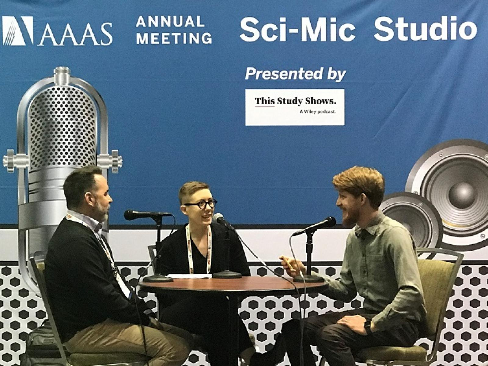 PNNL's Court Corey (left) and Kyle Bingman (middle) talked about artificial intelligence with Matt Dozier for DOE's Direct Current podcast.