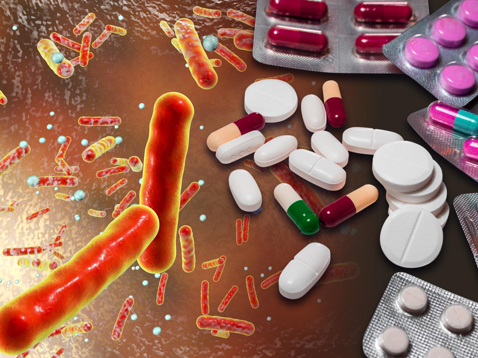Illustration showing microbes and medicines