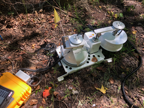 Instrument for measuring soil-atmosphere gas flux on leaf-strewn ground