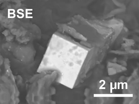 Magnification of a plutonium microcrystal