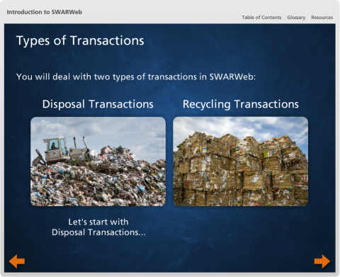 SWARWeb, the Online Solid Waste Annual Reporting System