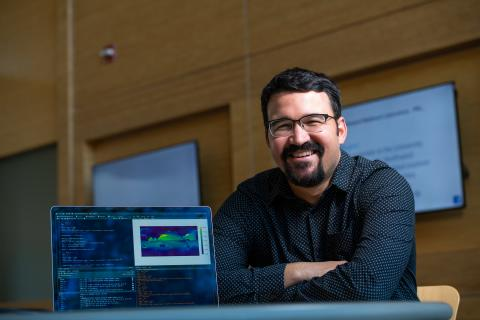 Sam Silva, a Linus Pauling fellow at PNNL, works on computational code related to atmospheric changes. One of his approaches is to use artificial intelligence to make predictions about future states of the atmosphere.