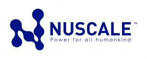 Logo in blue says NuScale, power for all humankind