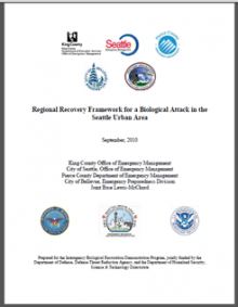 Cover of the Regional Recovery Framework for a Biological Attack in the Seattle Urban Area report