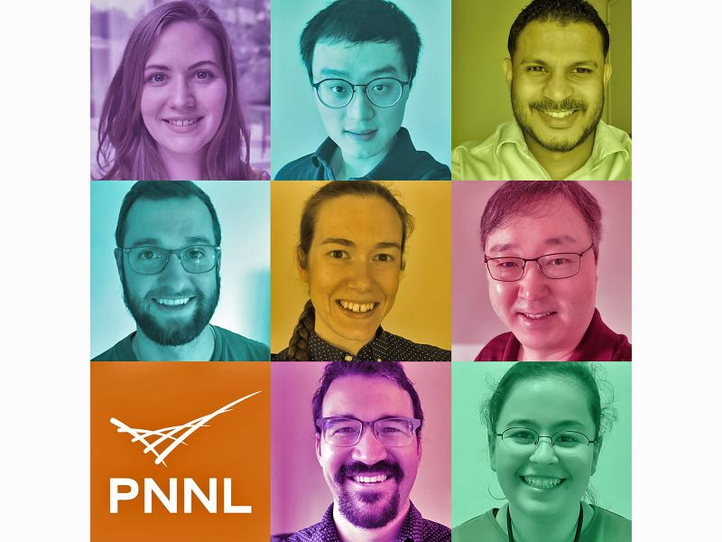 collage of eight postdoctoral researcher and the PNNL logo