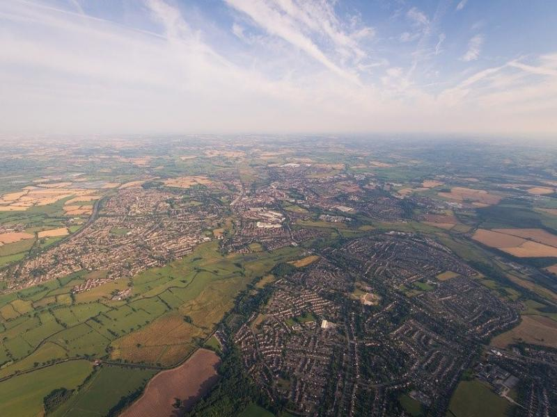 Aerial image of fields and human-modified semi-urban space