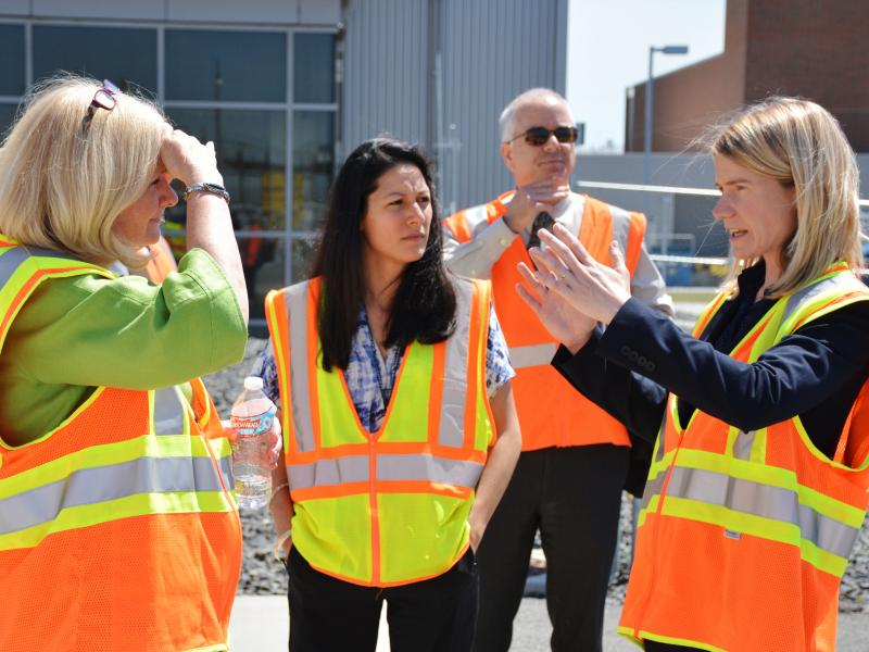 PNNL's Jamie Hughes (far right) talks about the Radiation Portal Monitoring Program with NNSA Principal Deputy Administrator Madelyn Creedon during a visit in June 2016.
