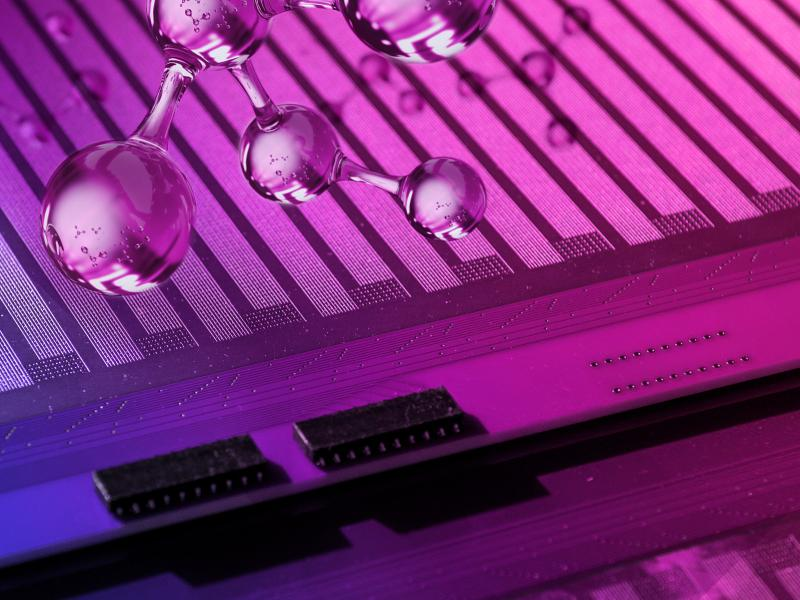 purple background of circuit board with glass molecule in foreground
