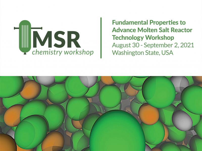 Simplified oblong image of a reactor and image of molten salt molecules colored green and orange. Plus event info text.