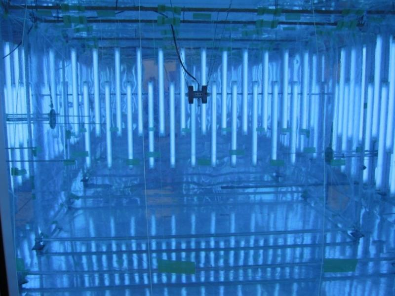 Inside of a blue chamber