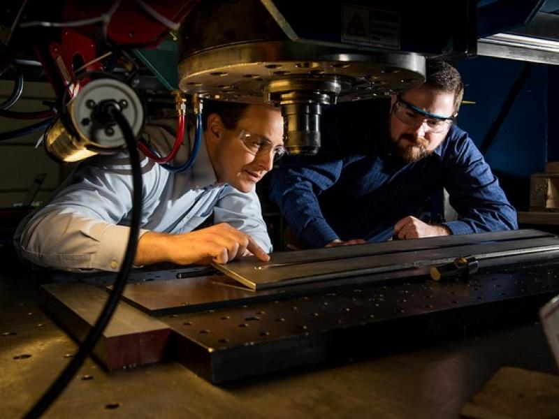Researchers use the Friction Stir Processing machine at PNNL