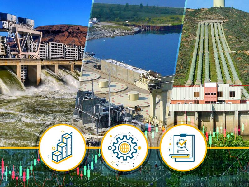 a thumbnail sized image of hydropower with icons related to the research