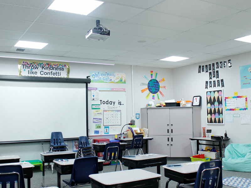 Classroom with LED lighting