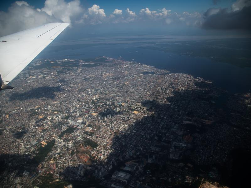 Photo of a city from the window of an airborne research aircraft