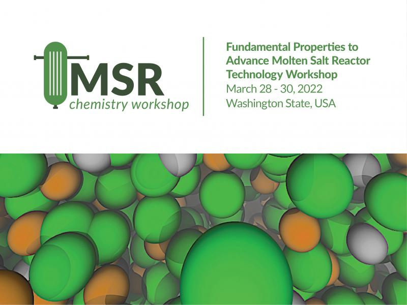 An illustration of green and orange molecules highlights basic details for the Molten Salt Reactor workshop being held in-person in March 2022.
